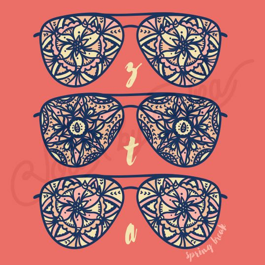 Sorority Social Zeta Tau Alpha Mandala Sunglasses Tribal South By Sea