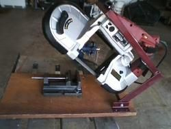 Cut-off saw mounting stand for Chicago Electric (harbor freight) band saw.