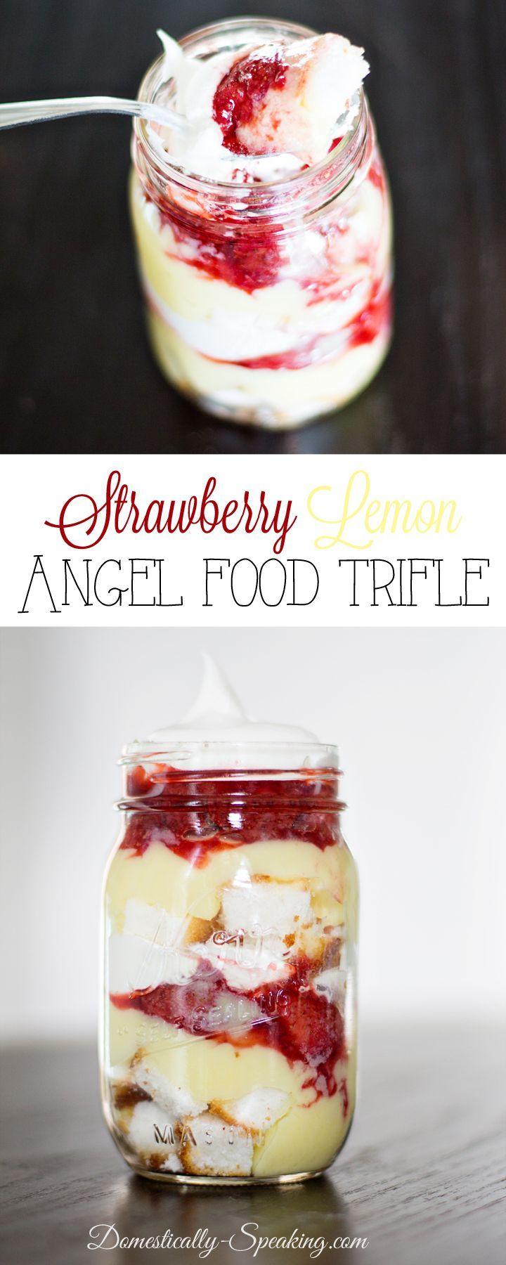 Strawberry Lemon Angel Food Trifle - 25+ things to eat in a mason jar - NoBiggie.net