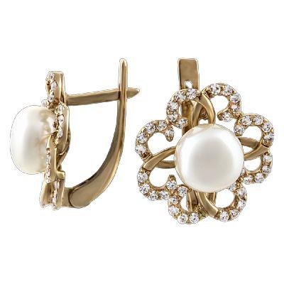 Купить золотые серьги с жемчугом ➤ http://zolotoy-standart.com.ua/catalog/sergi/zolotye-sergi-s-zhemchugom-511858/