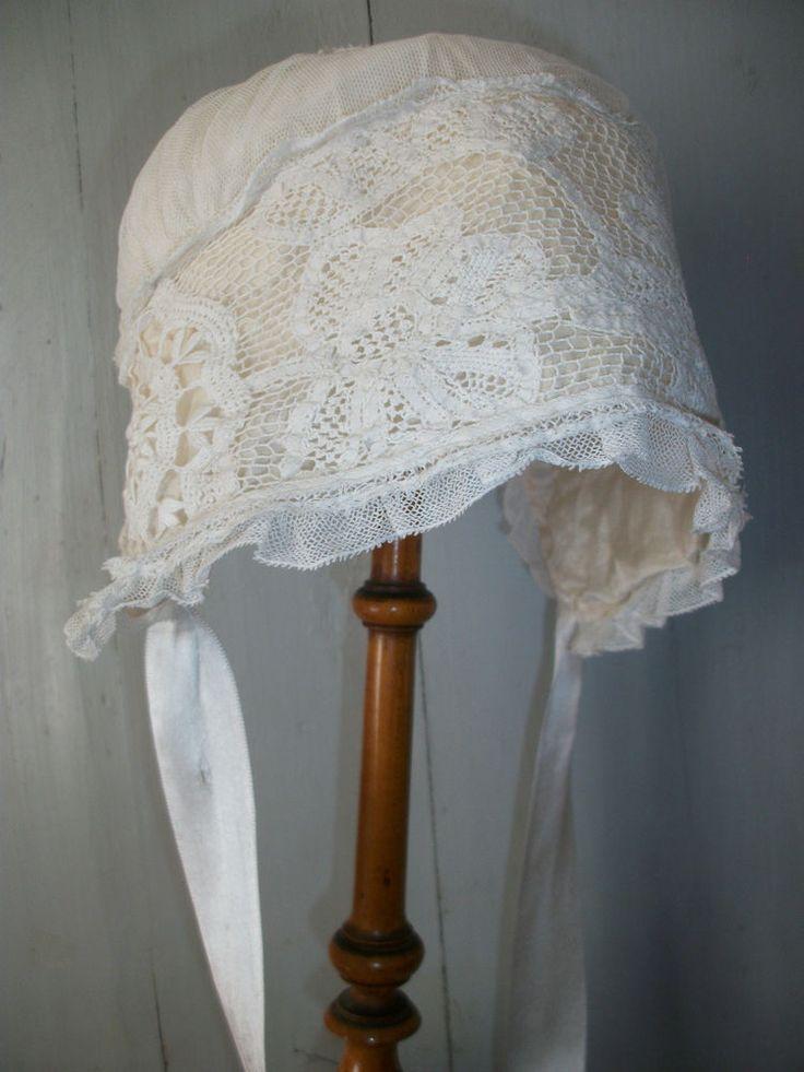 ANTIQUE FRENCH SILK BABY BONNET Cream & White Hat Doll Bebe Poupee VTG