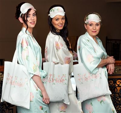 Personalised Bridal Party Gift Set - Bridal Robe, Tote Bag, Eye Mask & Slippers. Beautiful accessories for the morning of your Wedding Day from WowWee.ie