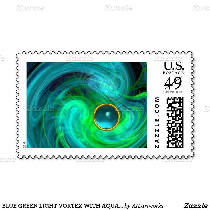 BLUE GREEN LIGHT VORTEX WITH AQUAMARINE GEMSTONE STAMPS