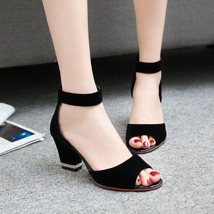 Womens Grace Peep Toe Pumps Shoes Ankle Strap Wedding Block Heel Office Sandals