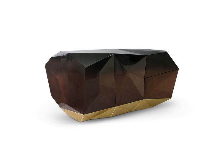 DIAMOND SIDEBOARD By Boca do Lobo | www.bocadolobo.com #luxuryfurniture #interiordesign #inspirations #homedecorideas #exclusivedesign #sideboard #contemporarylivingroom #diamond #chocolatecolour