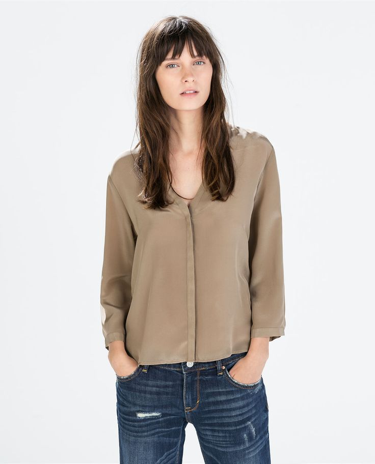 Image 1 of SILK V-NECK BLOUSE from Zara