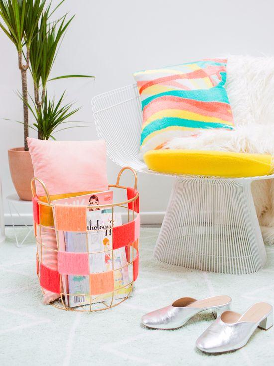 color-blocked wire basket DIY