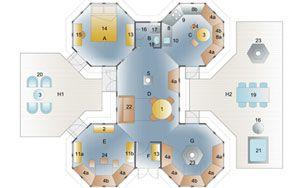 Bahamas & Barbados Pavillons Cluster 15_4_10 interiørplan:  A) SOVEROM 1 B) DUSJ/TOLETT C) KJØKKEN D) STUE E) MUSIKKROM F) VINTERHAGE/INNGANG G) GRILLROM H1) TERASSE H2) TERASSE  1. Spisestue 2. Bokhyller 3. Stuebord 4a) Benk 4b) Bord 5. Peis 6. Lenestol 8a) Kjøkkenskap 8b) Høy skap 9. Komfyr 10. Kjøkkenvask 11a) TV bord 11b) Musikkboks 12. Utvidelse 13. Garderobe-Wardrobe 14. Seng 15. Sminkebord  16. Dusj 17. WC 18. Kurv 19-20. Hagemøbler 21. Utendørs spabad 22. Sovesofa 23. Grill 24…
