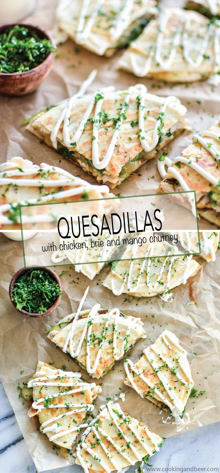 Quesadillas au brie, au poulet et au chutney de mangue. (Chicken and Brie Quesadillas with Mango Chutney are the perfect quick appetizer, lunch or dinner recipe! | www.cookingandbeer.com) (http://www.cookingandbeer.com/2015/03/chicken-and-brie-quesadillas-with-homemade-mango-chutney/)