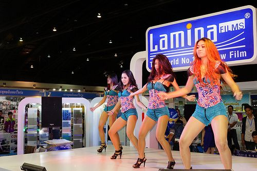 Dance show with beautiful, sexy girls for Lamina films at the 30th Thailand International Motor Expo 2013