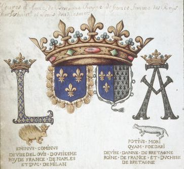 Armes de Louis XII et d'Anne de Bretagne. 4 août 1532 : traité d'union perpétuelle de la Bretagne et de la France