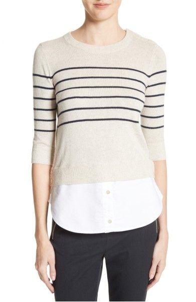 Main Image - Veronica Beard Mariner Stripe Combo Sweater