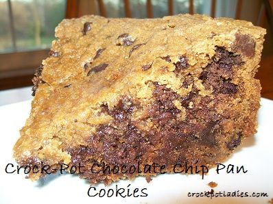 Crock-Pot Chocolate Chip Pan Cookies ~ CrockPotLadies.com