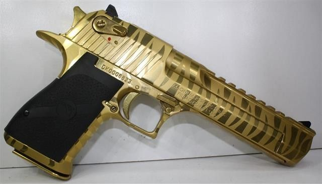 Titanium Gold Tiger Striped Desert Eagle Chambered in 50 Action Express