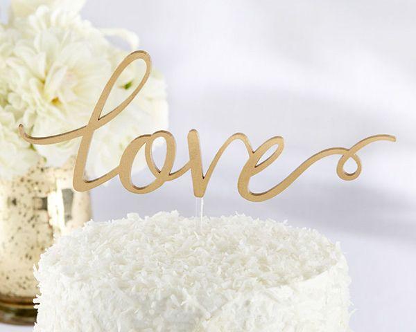 Love Wedding Cake Topper in Gold -Affordable Elegance Bridal -