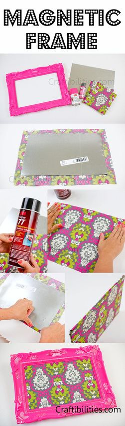 FABRIC Magnetic board FRAME & Magnets to match! Bathroom or Office - DIY craft TUTORIAL - makeup, supplies, notes, etc