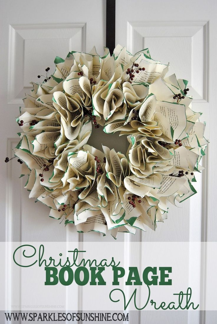 Looking for an easy DIY holiday wreath idea? Decorate your home for the holidays this year with this eye-catching easy to make Christmas book page wreath.