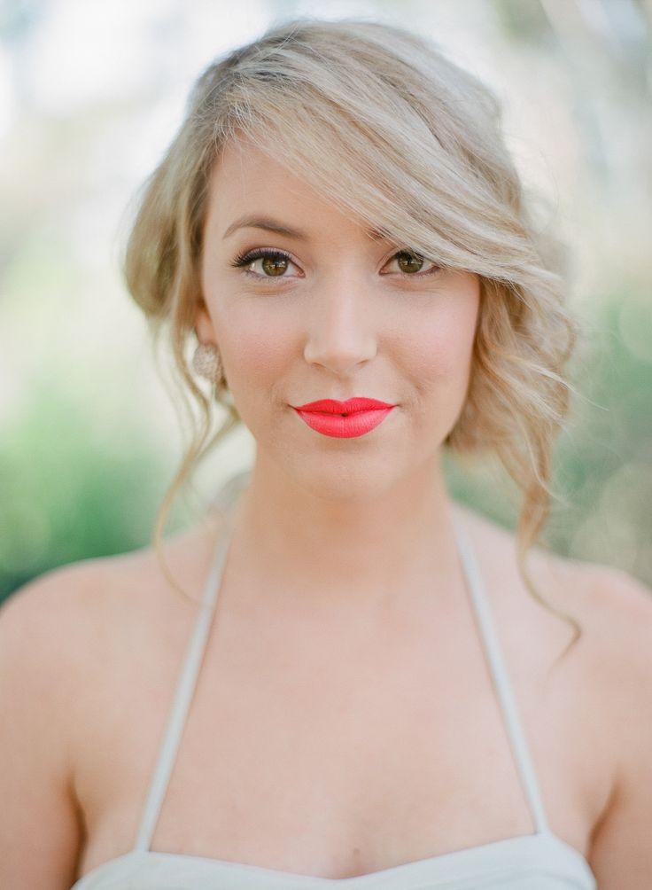 pretty red lip!   Photography: Blush Wedding Photography - blushweddingphotography.com  Read More: http://www.stylemepretty.com/2014/04/22/whimsical-autumn-wedding-inspiration/