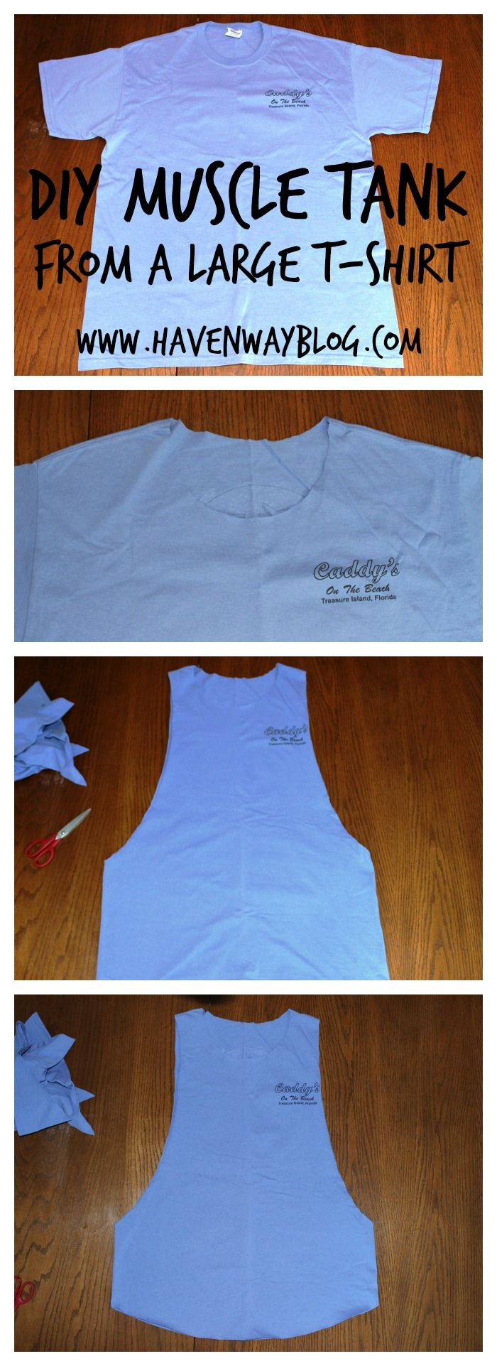 DIY Muscle Tank from a large T-Shirt | Haven Way