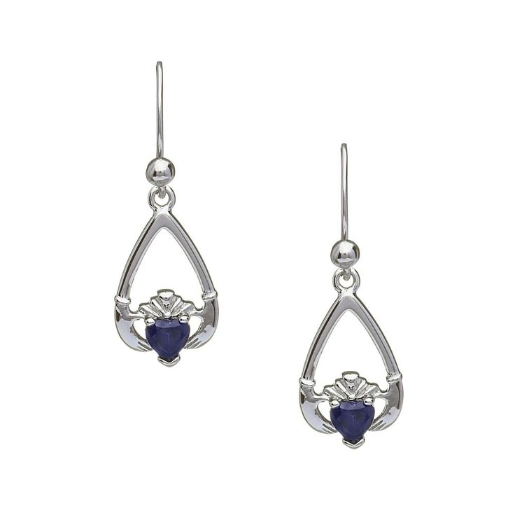 September Birthstone Claddagh Earrings - Claddagh Birthstone Jewelry - Rings from Ireland-Blue Sapphire: Awareness