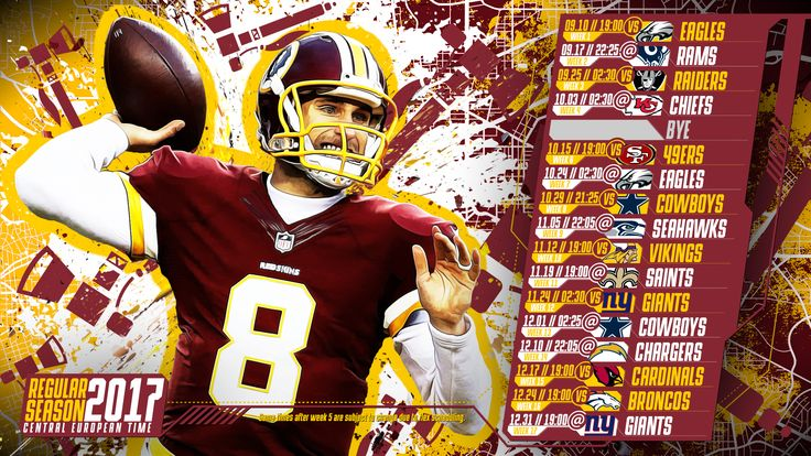 Schedule wallpaper for the Washington Redskins Regular Season, 2017 Central European Time. Made by #tgersdiy