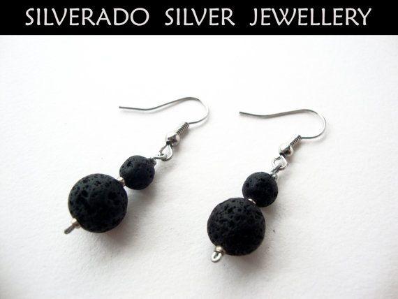 SANTORINI ** Natural Volcanic Lava Graduaded Beads Dangle Earrings on Etsy, 10,00€