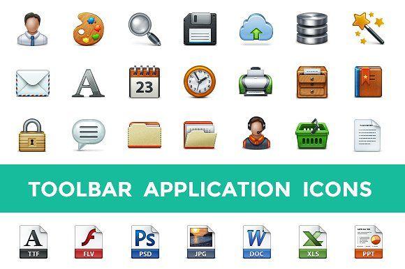 Toolbar Application Icon Set by Web Icon Set on @creativemarket