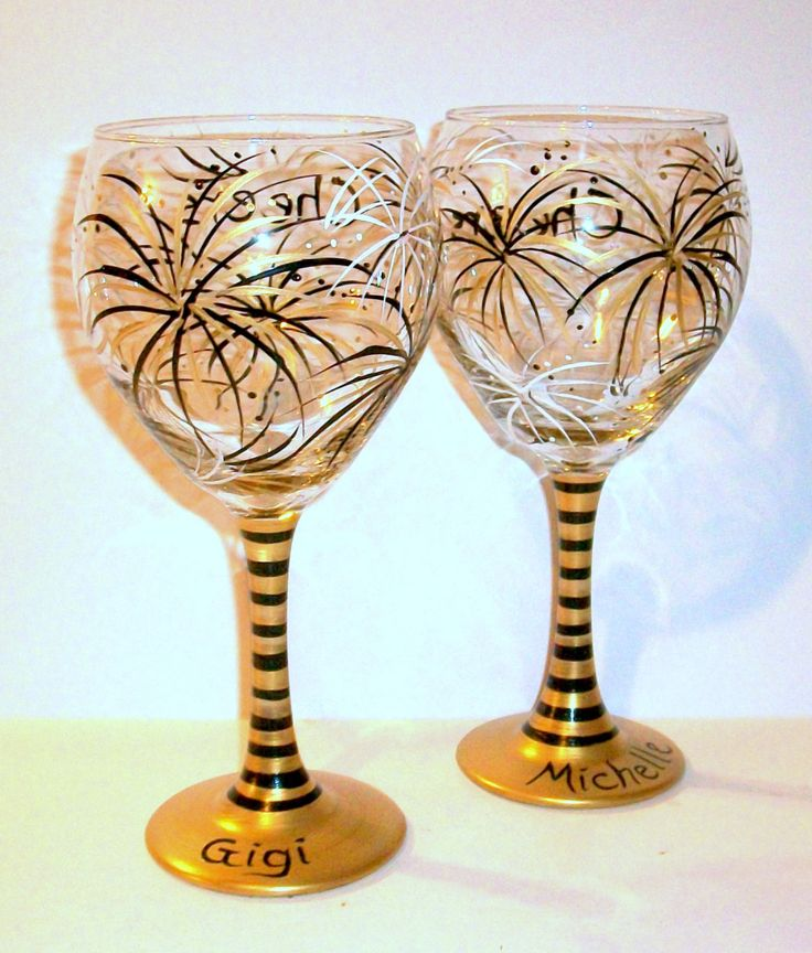 gold black u0026 ivory fireworks hand painted wine glasses 221 oz new years eve party wedding bridesmaids party mother of bride