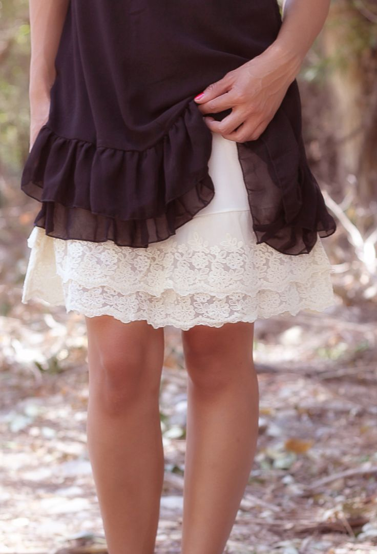 Cream Lace Slip Extender! me and my sister do this all the time to make dresses and skirts longer~
