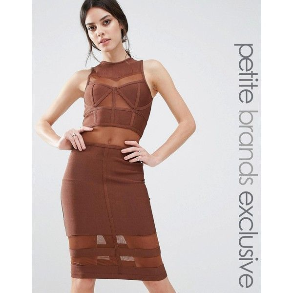 True Decadence Petite Bandage Midi Dress With Mesh Inserts ($146) ❤ liked on Polyvore featuring dresses, brown, petite bodycon dresses, calf length dresses, brown bandage dress, body con dress and bodycon dress