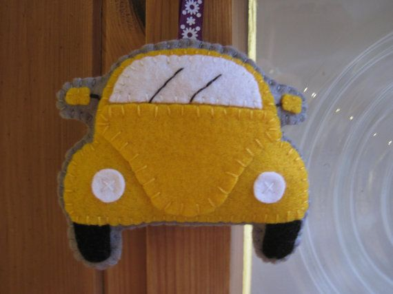 VW Beetle Plush Yellow Hanging Ornament, Gift for Beetle Lovers