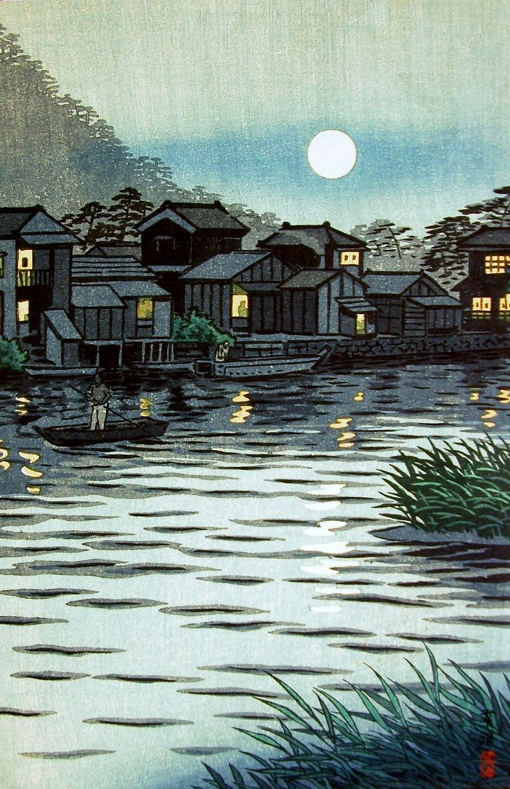 Rising Moon at Katase River, by Shiro Kasamatsu, 1953: