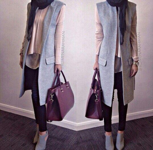 gray vest hijab style- Hijab spring street fashion http://www.justtrendygirls.com/hijab-spring-street-fashion/