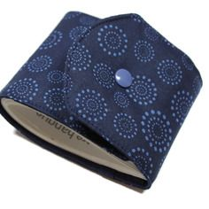 Porte-chéquier classique long en tissu coton pois bleus chéquier talon côté
