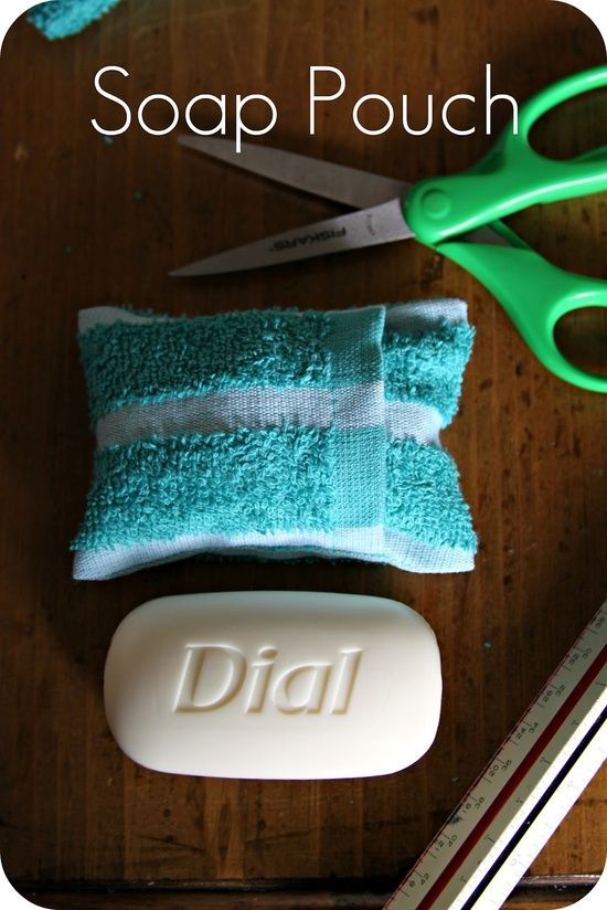 DIY: Soap Pouch. Better than loufas and would be cheaper and more eco-friendly than using the liquid body wash all the time,would be a great gift.