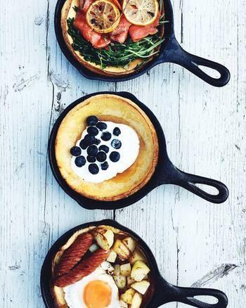 日曜の朝の朝食に、お食事系のダッチベイビーとスイーツ系のものを・・・。 なんて、理想的な一日の始まりなんでしょう!きっと家族の皆さんと素敵な一日が始まるんでしょうね。
