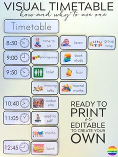 Printable Editable Visual Timetable Cards - one of the most effective tools in any early years classroom. Ready to print timetable cards or editable to add your own font/text