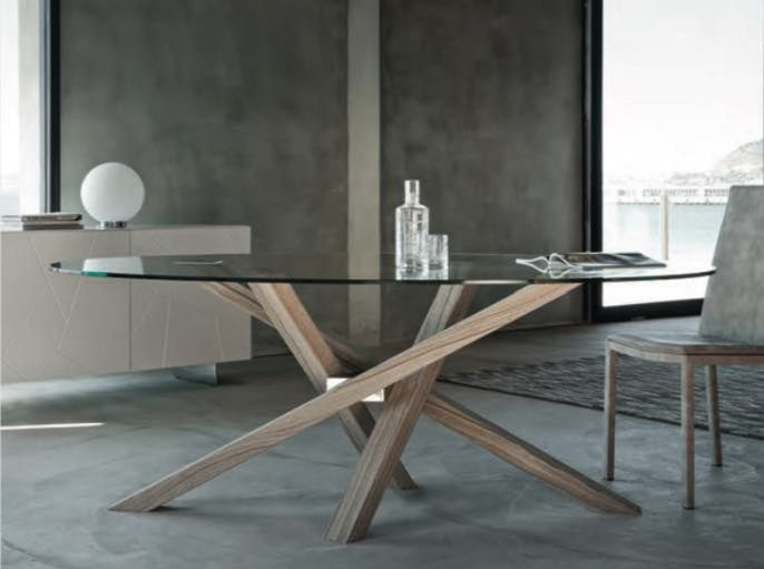Wood and glass table SHANGAI Collection by RIFLESSI