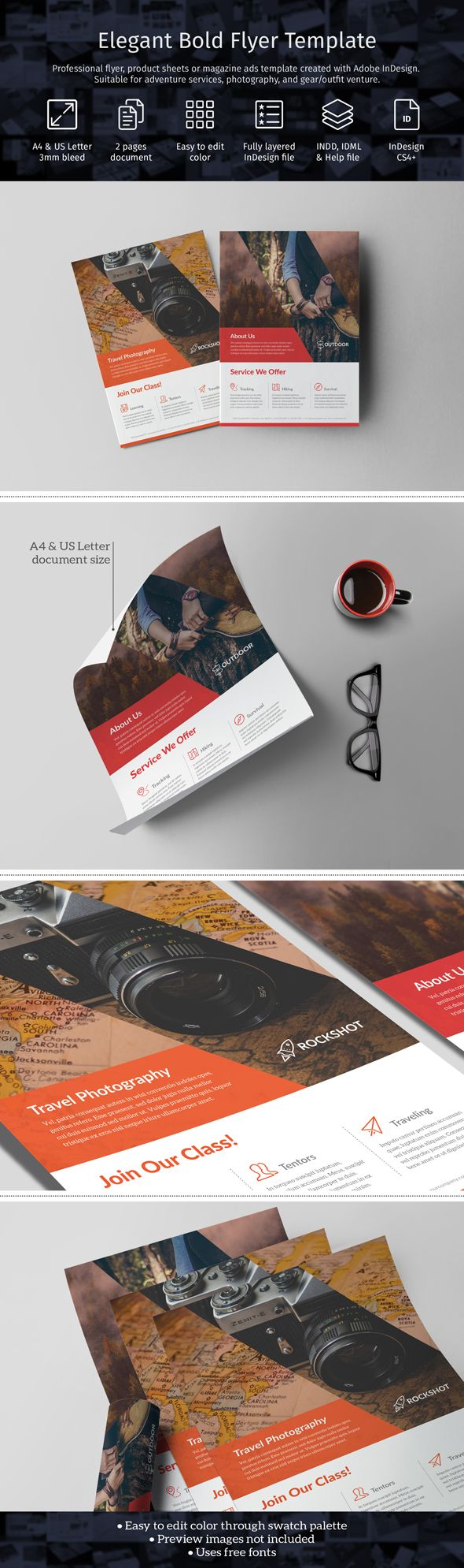 Professional bold flyer/product sheets/magazine ads template created with Adobe InDesign. Perfect for outdoor sport, adventure, photography, and gear/outfit venture. Template available in A4 & US Letter size [crmrkt.com/MmBaV].