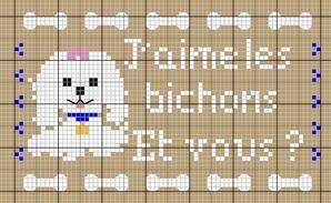 chien - dog - bichon - point de croix - cross stitch - Blog : http://broderiemimie44.canalblog.com/