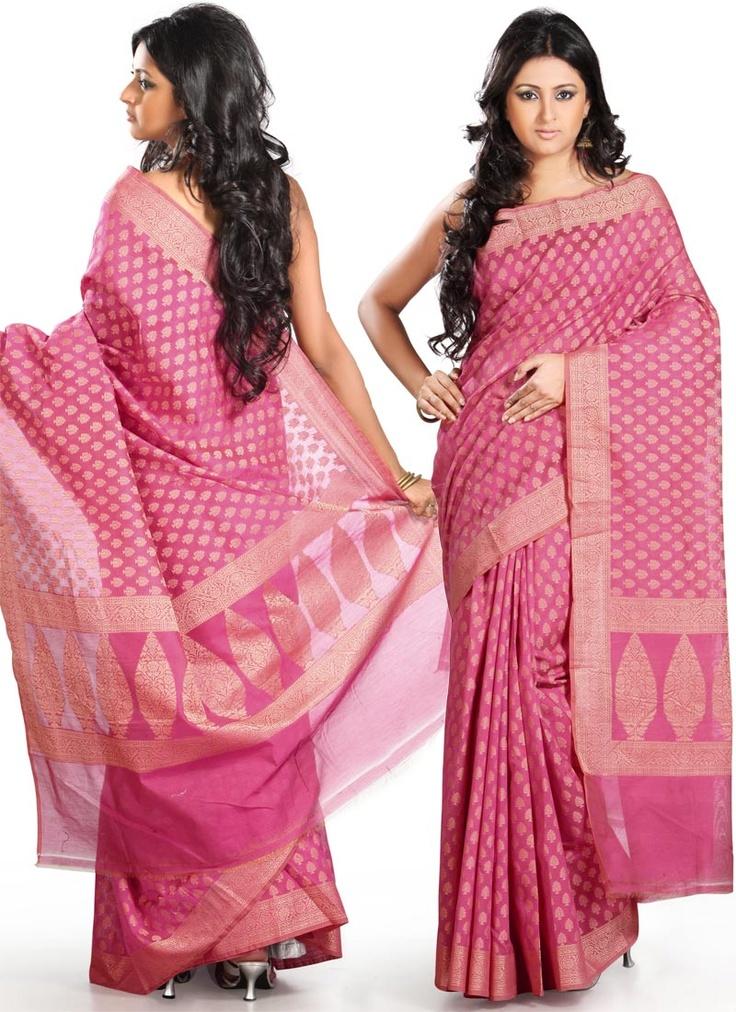 Jacquard Pink Silk Cotton Saree