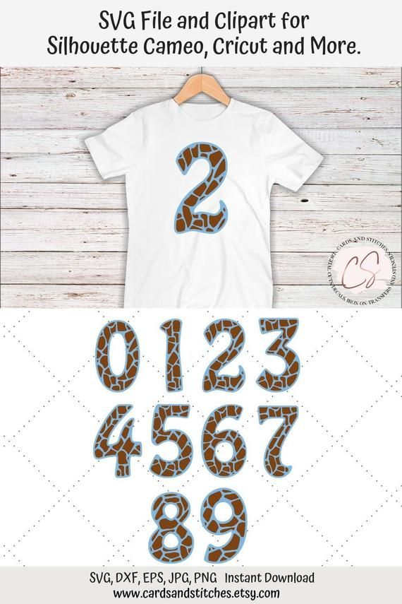Giraffe Numbers Svg Great For Silhouette And Cricut Machines Birthday Numbers Clipart Svg File Dxf Jpg Eps Png Clip Art Cricut Giraffe Birthday
