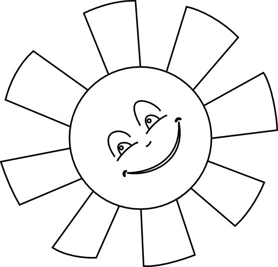Sun Line Happy Gm Black White Art Coloring Sheet Colouring Page 555px