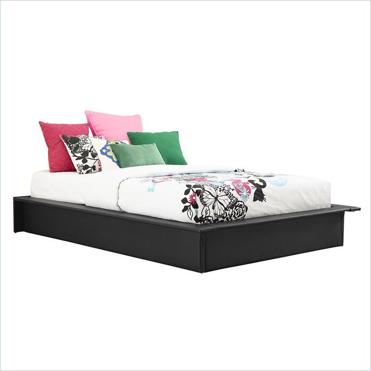 leather upholstered platform bed in black