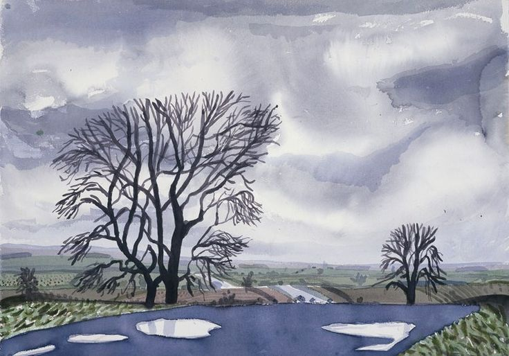 David Hockney, Trees & Puddles. East Yorkshire, 2004 watercolor