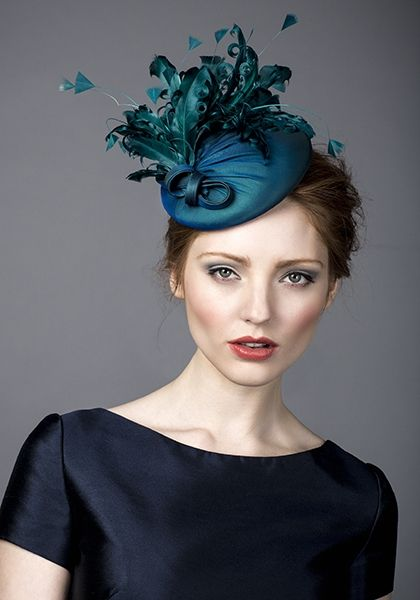 Rachel Trevor Morgan, A/W 2014. Teal silk beret with feathers.