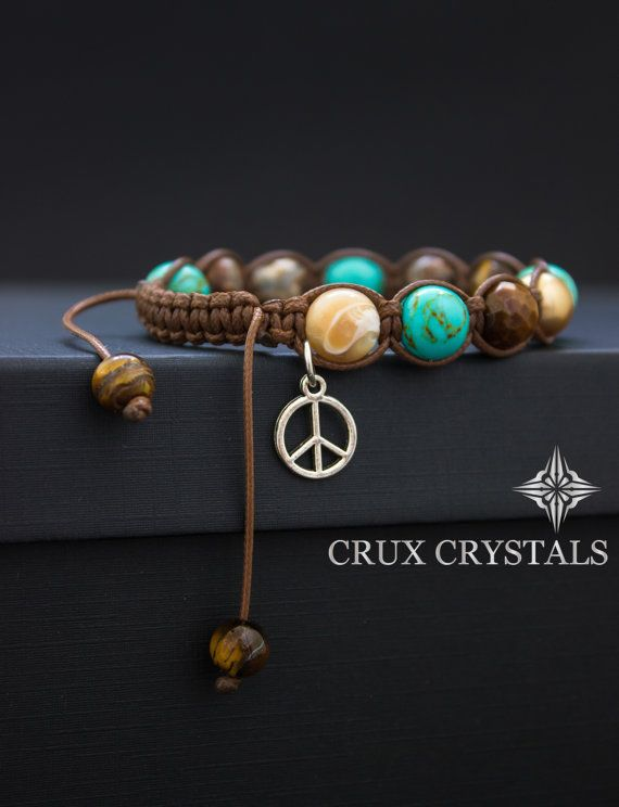 Shamballa Bracelet Peace Love Natural Stone Brown by CruxCrystals
