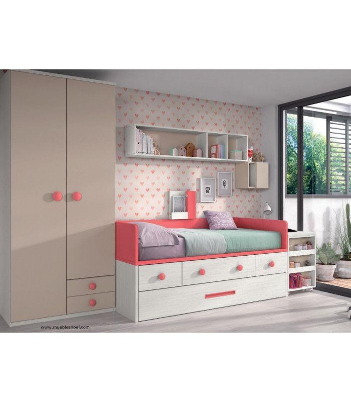 Dormitorio juvenilMultimedia con conexión bluetooth para altavoz integrado, USB, mesa deslizante, armario, estanterías y compacto.