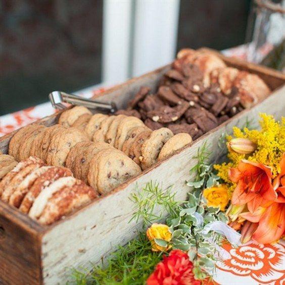 Rustic Dessert Bar Display /  / http://www.deerpearlflowers.com/wedding-smore-cookies-milk-bar-ideas/