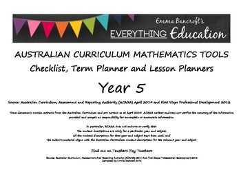 ALREADY USED BY A NUMBER OF AUSTRALIAN SCHOOLS!You cannot go past these YEAR 5 Australian Curriculum Mathematics Monitoring and Planning Tools. These are up to date with the 2014 National Australian Curriculum and are a MUST HAVE for any classroom. With Links to First Steps Mathematics Resources, this is one resource that you cannot afford to pass up.